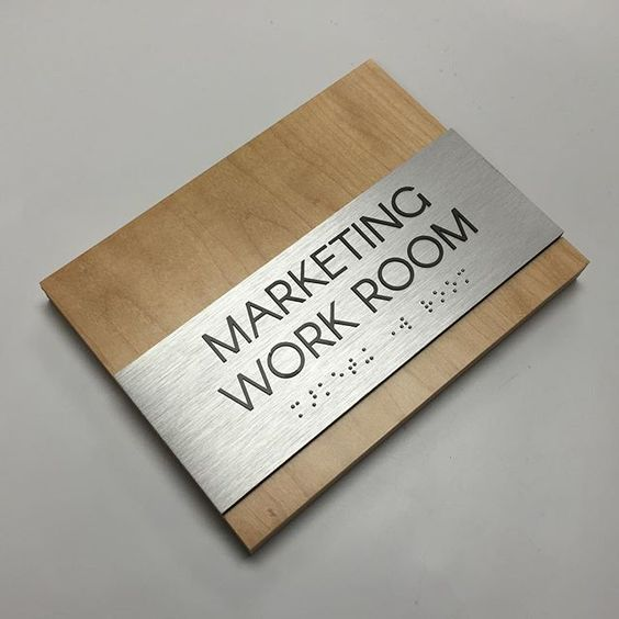 """Room Sign, 3/4"""" wooden panel with 1/4"""" Aluminum panel and 1/32"""" raised tactile to comply with ADA signage regulations. Beautiful custom design, unique and standout finish, high quality, cost effective."""