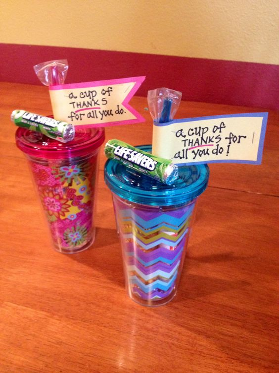 A great inexpensive idea for teachers. You can find cute cups or water bottles anywhere, even your local dollar store. Found these cute cups at Target and filled them with nail polish, smarties, pack of gum, peanuts and lifesavers... basically items all women love to carry in their purse. :) Fun and easy!