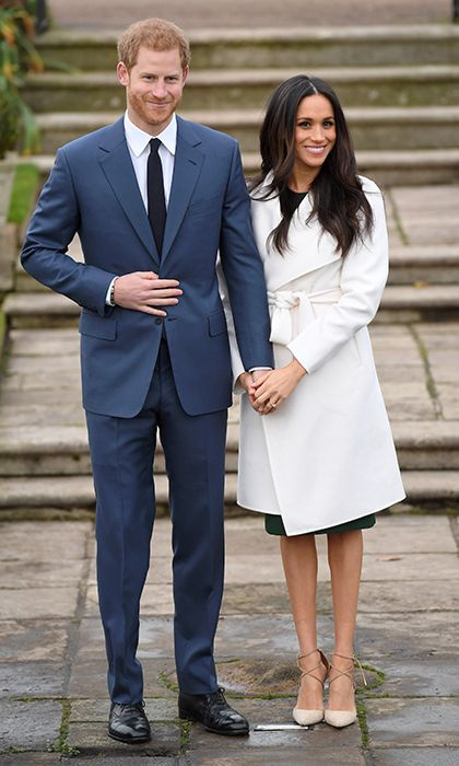 In what will no doubt become an iconic outfit, Meghan Markle stayed true to her pared-down style for her first appearance as a royal bride-to-be. The actress, who recently moved out of her Toronto home and into Kensington Palace with Prince Harry, wore a cream coat from Canadian knitwear brand LINE, a p.a.r.o.s.h dress and earrings from Birks. Last, but certainly not least, was her brand new diamond engagement ring from fiancé Prince Harry.