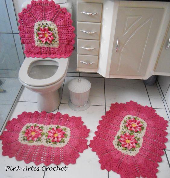 Jogo De Banheiro Classic Rosa Passo A Passo : Graficos jogos banheiro croche barbante barroco flores