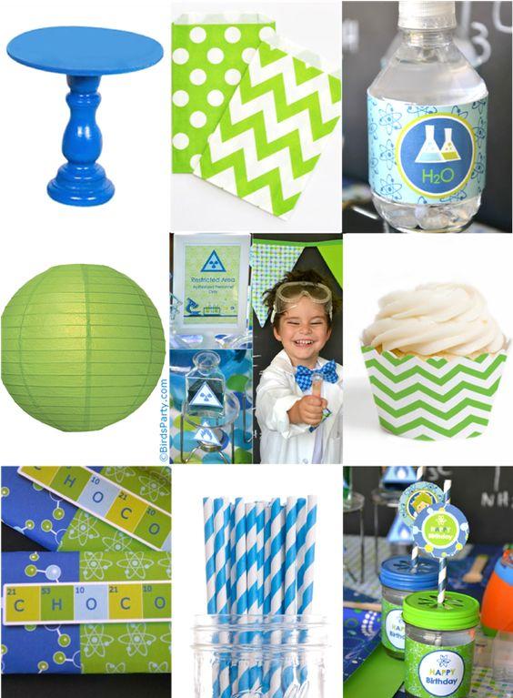 Paint My Party: Idées Anniversaire Bleu et Vert Thème Scientifique Fou…