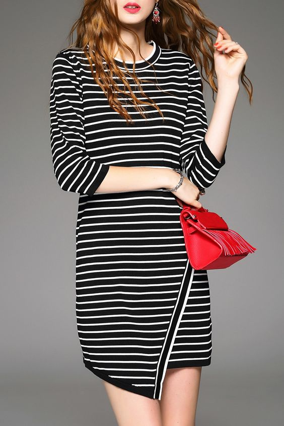 Stripe Asymmetric Sweater Dress