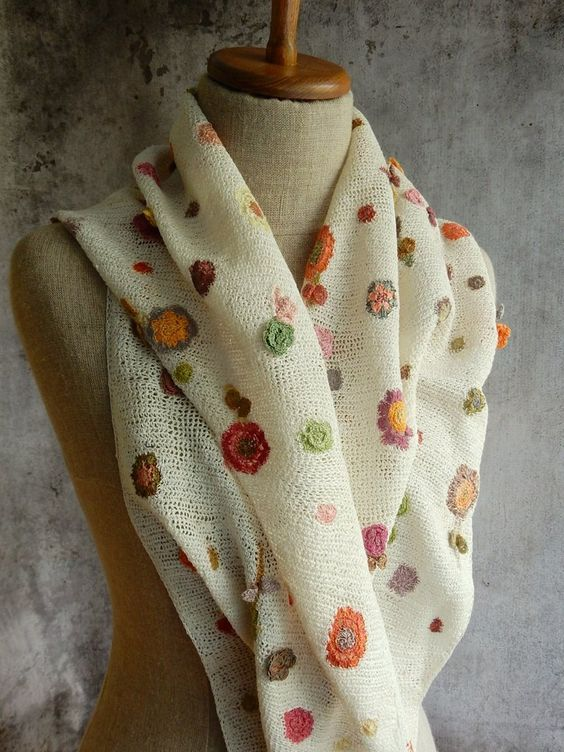 12x50', hand crocheted linen scarf. Semi-open crochet sprinkled with flowers and…: