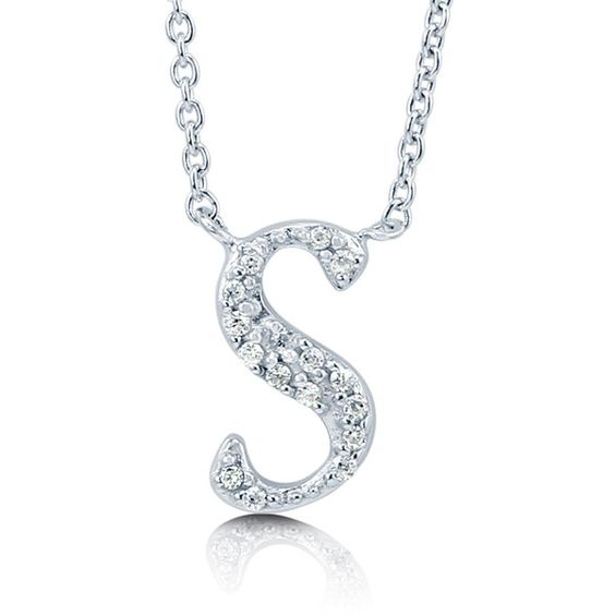 """BERRICLE Sterling Silver CZ Personalized Initial Letter """"""""S"""""""" Pendant... (€43) ❤ liked on Polyvore featuring jewelry, necklaces, clear, pendant necklace, sterling silver, women's accessories, initial pendant necklace, cross necklace, initial pendant and anniversary necklace"""