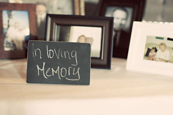 Pictures of those who couldn't make it to the wedding, love this idea. Definitely doing this for Grandpa <3