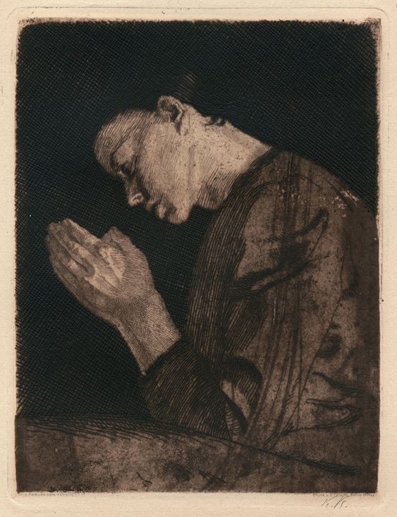 Woman Praying, Kathe Kollwitz, aquatint with softground etching printed in a dark brown ink, 1892: