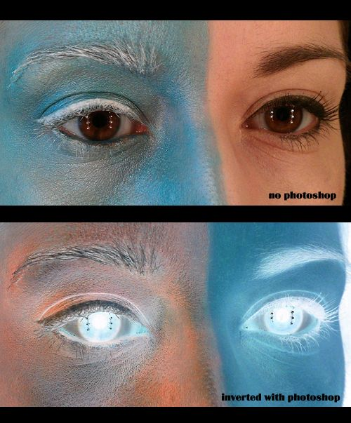 """The """"Inverted Effect"""" from Paint or Photoshop, done with Make-Up."""