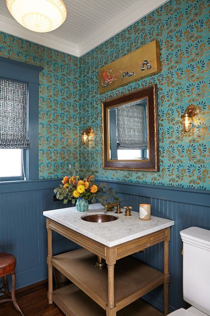 arts and crafts powder room; dark blue v- groove wainscoting and ceiling; Sink pedestal: Restoration Hardware; copper sink and faucet: Waterworks; lighting: Olde Good Things; wallpaper: Schumacher