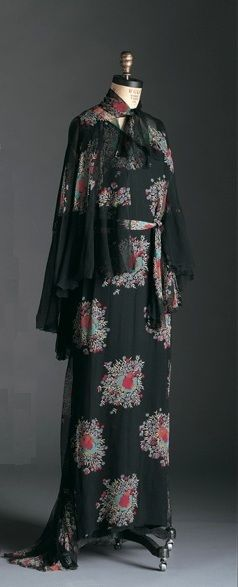 """Dress, Cape and Belt, Maggy Rouff (French, 1896-1971): 1934, printed silk chiffon.  """"When Maggy Rouff opened her fashion house in 1929 in Paris, the tradition of designers achieving celebrity status had already been established by Charles Frederick Worth.  The success of women designers like Madeline Vionnet, Madame Paquin and the Callot Soeures, inspired a new generation of women to design."""""""