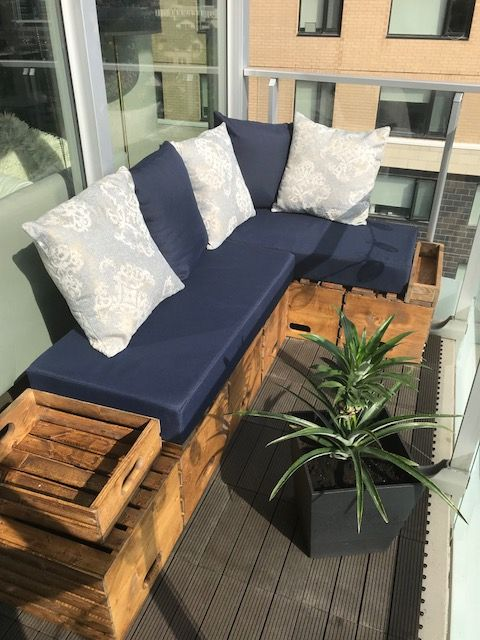 Custom Made Corner Couch For Tiny Balcony Made With Wood Crates And Hand Made Seat Cushions And Pillows Small Balcony Decor Balcony Furniture Balcony Decor
