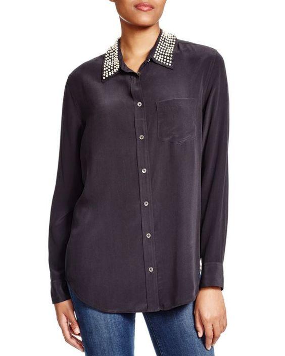 Equipment Reese Pearl Collar Shirt