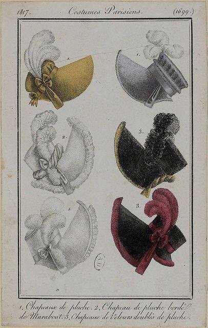 Bonnets, 1817 costume parisien #millinery #judithm #bonnets