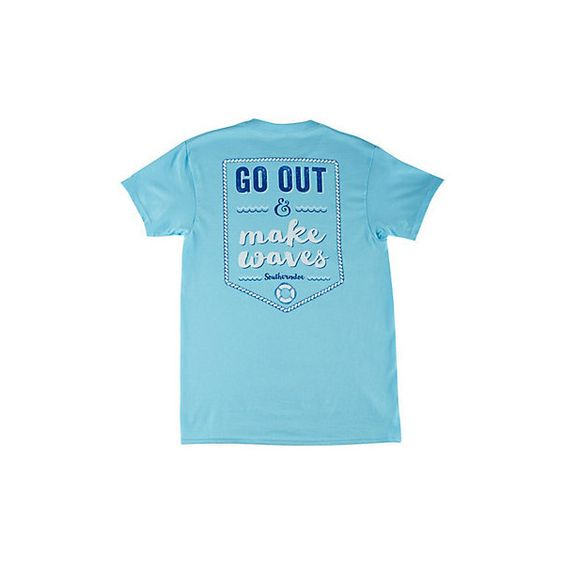 Southerndoe Juniors Make Waves T-Shirt ($24) ❤ liked on Polyvore featuring tops, t-shirts, pool blue, crew t shirts, graphic print t shirts, crewneck tee, short sleeve graphic tees and blue t shirt