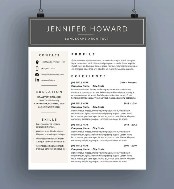 Professional Resume Template CV Template Cover Letter MS Cover - landscape architect sample resume