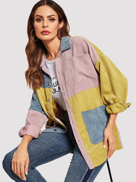 (1) Drop Shoulder Cut-and-sew Corduroy Jacket – wear24/7