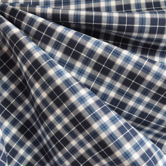 Indigo Plaid Shirting Blue/White