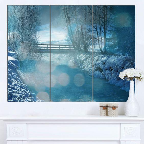 Designart 'Beautiful Winter River View' Oversized Landscape Canvas Art