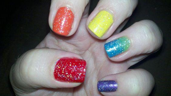 rainbow nails. nails by sara. facebook.com/sara2s