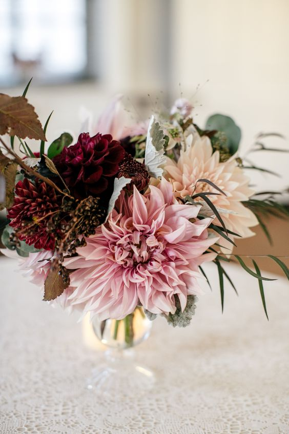 Small autumn centerpieces featuring dahlias and antique for Small fresh flower table arrangements