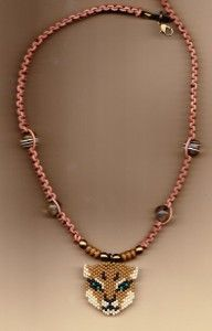 Beaded Cougar and Leather Necklace