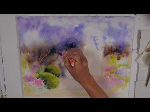Une Glycine A L Aquarelle Wisteria In Watercolor Youtube Avec