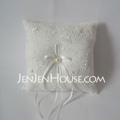 Ring Pillow - $13.94 - White Square Ring Pillow With Ribbon(103018239) http://jenjenhouse.com/Ring-Pillow-103018239-g18239
