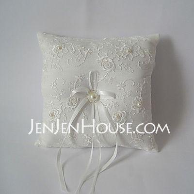 Ring Pillow - $13.94 - White Square Ring Pillow With Ribbon(103018239) http://jenjenhouse.com/Ring-Pillow-103018239-g18239