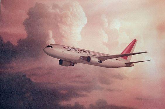 jet on a pink sky