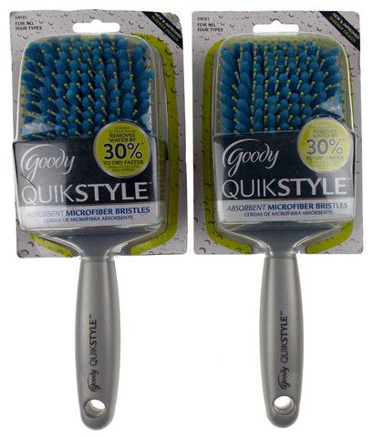 Lot 2 Goody QuikStyle Hairbrushes Absorbent Antimicrobial Microfiber Dry Faster