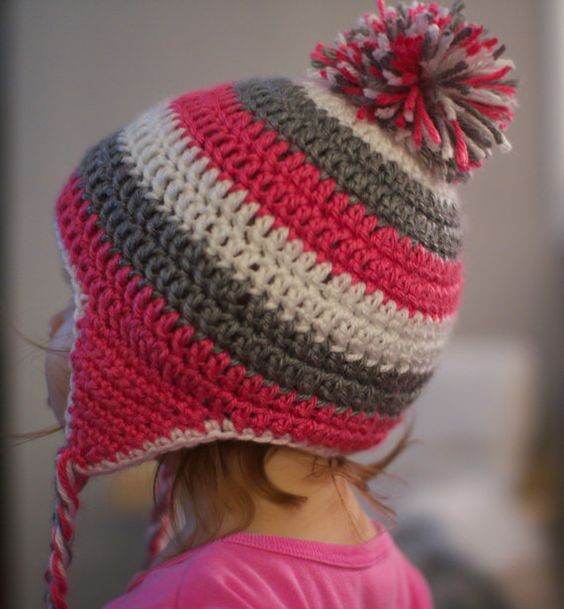 Crochet Womens Hat With Ear Flaps Pattern : Crocheted Striped Toddler Ear Flap Hat with Tassels ...
