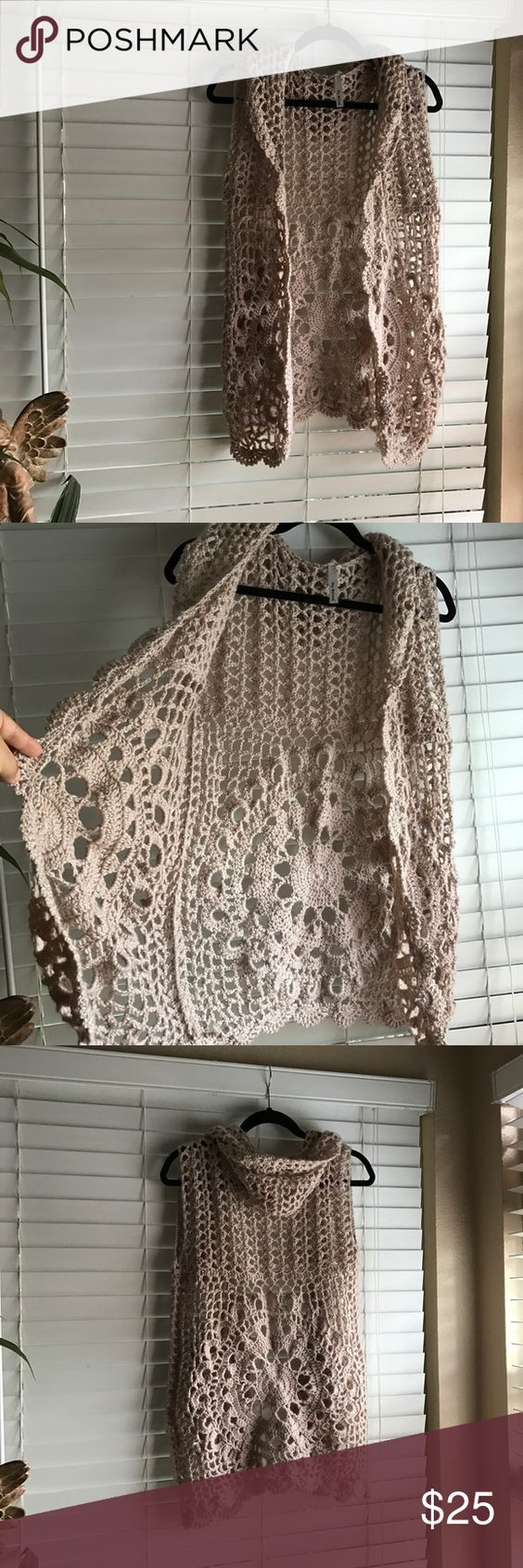 Crochet vest w/hood New without tags. Size small my beloved Jackets & Coats Vests