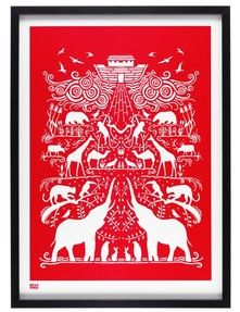 Ark Print in Poppy Red