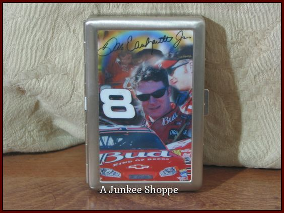 DALE EARNHARDT Jr. Cigarette Or Business Card Case Stainless Steel Nascar Fan Product 0646   http://ajunkeeshoppe.blogspot.com/