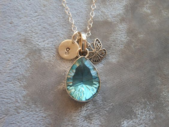 Blue Topaz Necklace Personalized Initial by TheButterflyGarden7, $36.50
