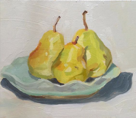 One Eye Open One Eye Shut: Green Pears on a Blue Plate