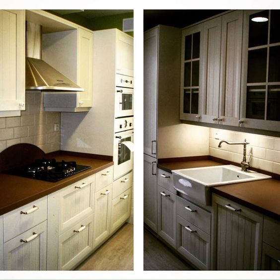 Cocina clasica en madrid muebles madera lacada blanco mate - Fregadero de porcelana ...