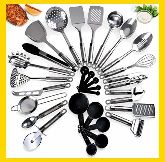 Amazon Com Kitchen Utensil Set 21 Piece Durable Long Lasting Stainless Steel Cookware Set No Cookware Set Stainless Steel Kitchen Utensil Set Kitchen Tool Set