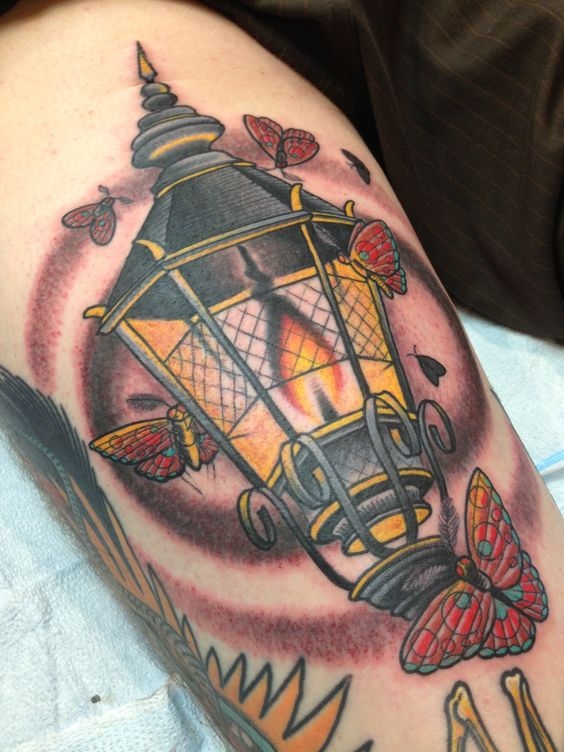 Back of hammy gas lamp and moths artist john rippey for Electrical tattoos ideas