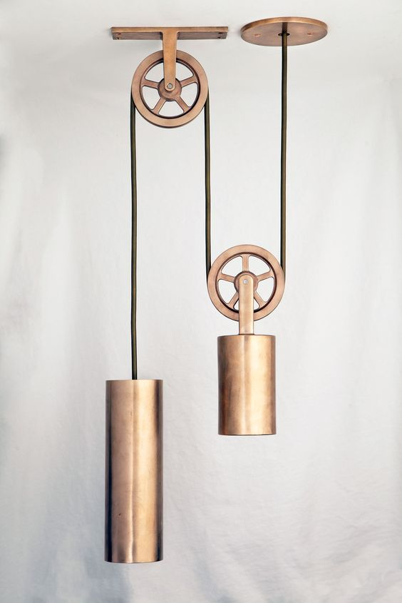 Pulley Pendant in Polished Bronze finish by Sun Valley Bronze