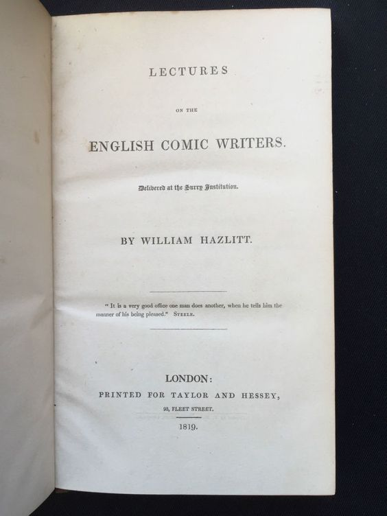 Lectures on the English Comic Writers by William Hazlitt First Edition 1819