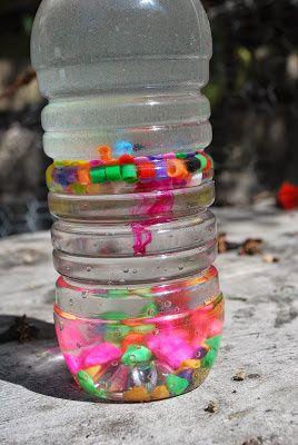 Density learning sensory bottle using gravel, perler beads, water ...