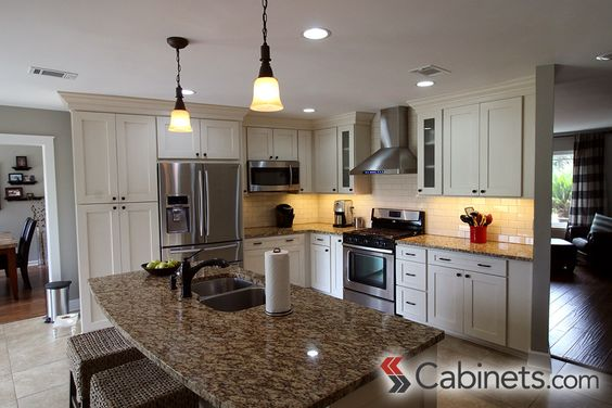 Islands photo galleries and brown on pinterest for Brushed sage kitchen cabinets