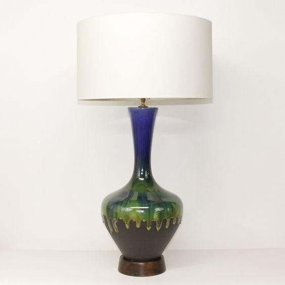 PAIR Mid-Century Modern Pottery Lamps . Blue Green Lava Glaze . XL Size. $545.00, via Etsy.