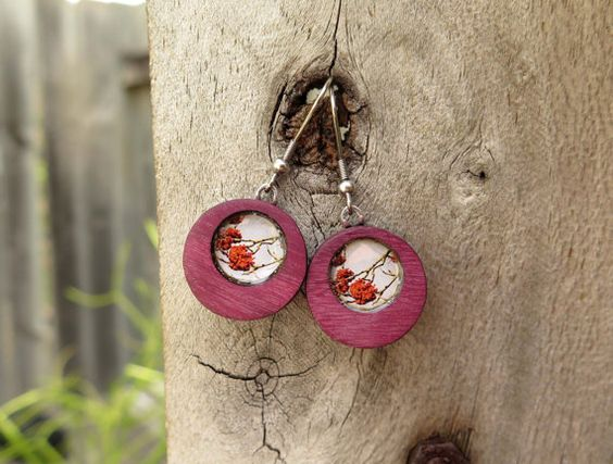 Autumn Trees  Purpleheart Wood Earrings by KlusterBee on Etsy