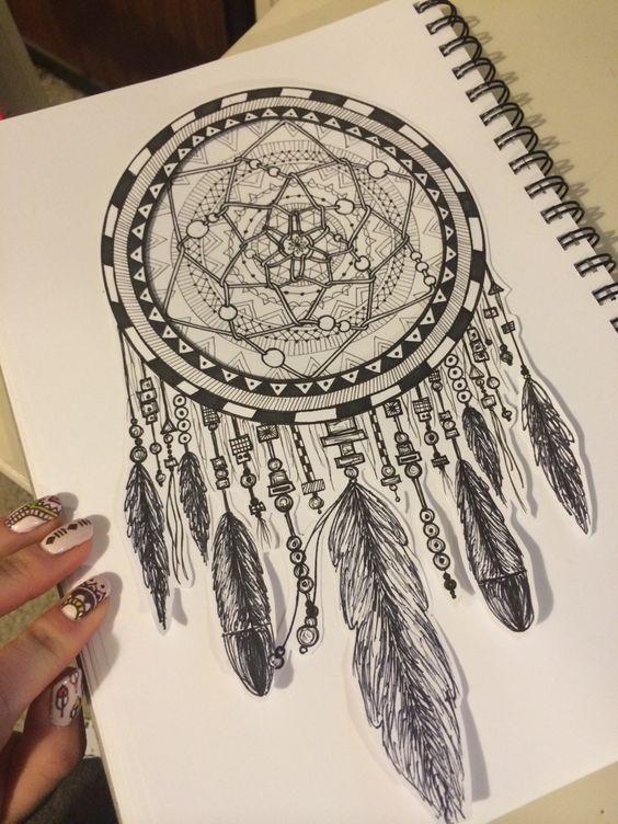 Dreamcatcher drawing art design bohemian hippie vintage decor more