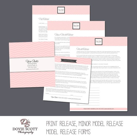 Photography Forms Templates  Print Release, Model Release, Minor - photographer release forms
