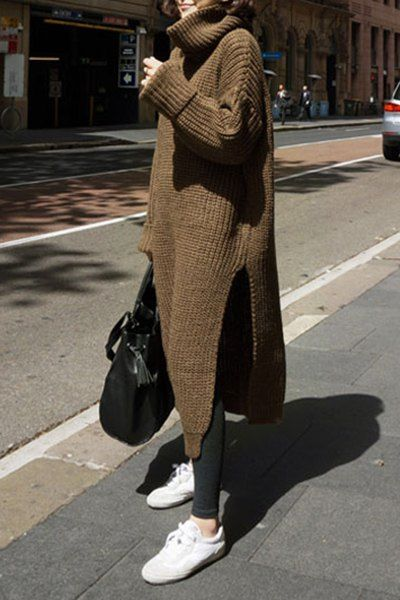 Casual Turtleneck Solid Color High Slit Pullover Sweater Dress For Women