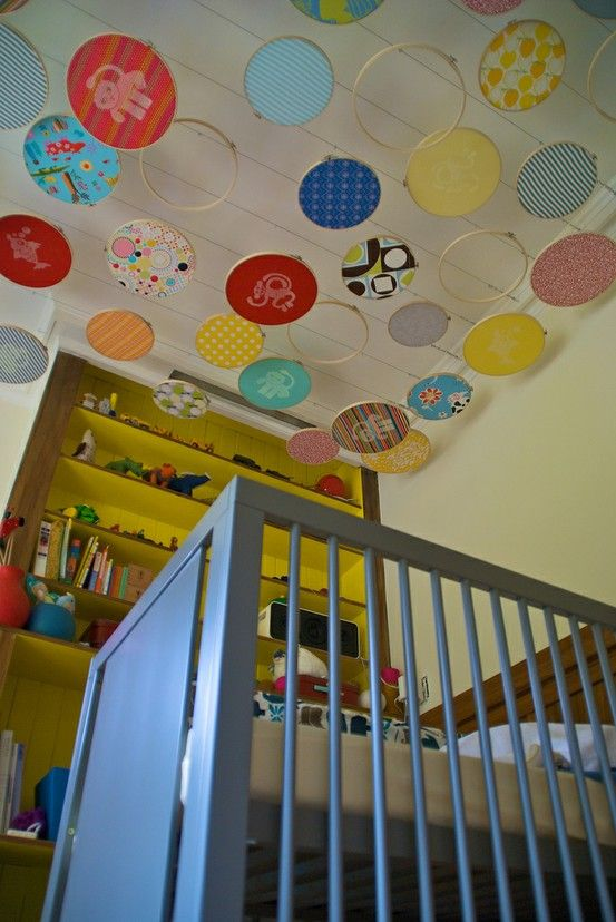 I LOVE this. Would put it in a play room, craft room, guest room or even my living room if I had high enough ceilings. And a long extension on my vacuum.: Nursery Idea, Kids Room, Kidsroom, Baby Room, Ceiling Idea, Embroidery Hoops