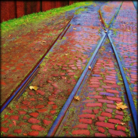 Railroad Tracks Along the Hudson  8 X 8 Print  by MuzettasWaltz, $20.00