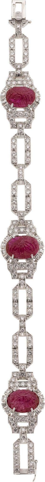Art Deco Ruby, Diamond, Platinum Bracelet